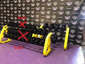 GPI commercial grade pro style rubber coated dumbbells - 110, 115, & 120 lbs sets & Precor Icarian rack for Sale in Miami Gardens, FL
