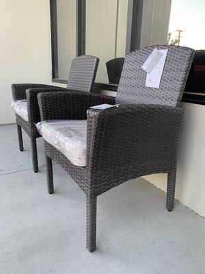 """New in box SET OF 2 Santa Fe Dining Brown Chair Outdoor Wicker Patio Furniture With Tan Sunbrella material Cushion $400 at Costco seat height 19"""" wid for Sale in San Dimas, CA"""