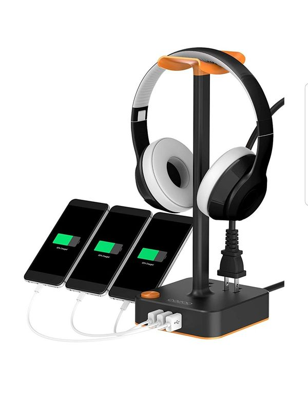 Headphone Stand with USB Charger COZOO Desktop Gaming Headset Holder Hanger with 3 USB Charger and 2 Outlets