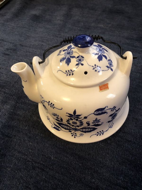 Vintage blue and white enamelware teapot