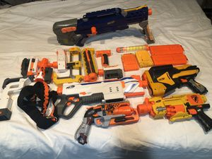 5 Nerf guns with accessories and shoulder strap for Sale in River Forest, IL