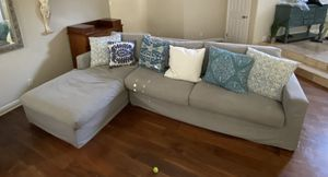 Denim slip-covered sectional couch for Sale in Manhattan Beach, CA