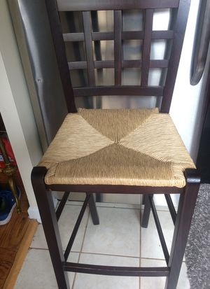 2 Bar height bar stools. Solid wood/wicket tan seats for Sale in Washington, DC