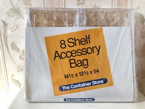 CONTAINER STORE...ENCLOSED HANGING 8-SHELF SWEATER/SHOES/PURSE CLOSET STORAGE ORGANIZER...14 1/2 x 12 1/2 x 54 for Sale in Gurnee, IL
