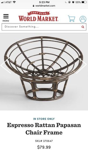 Espresso Rattan Papasan Chair Frame for Sale in Columbus, OH
