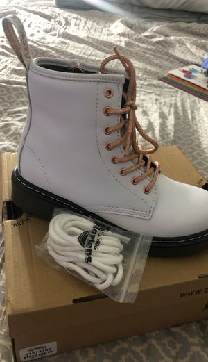 NEW Girls size 2 Rose Gold and White Doc Marten Boots NEW for Sale in Perris, CA