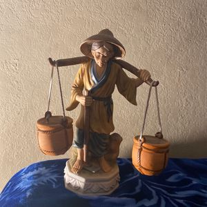 Asian Figurine Woman Carry Buckets Of Water for Sale in Citrus Heights, CA