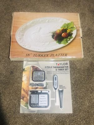 Large White Turkey Platter and Turkey Thermometer Great for Thanksgiving and the Holidays Coming Up for Sale in Fontana, CA