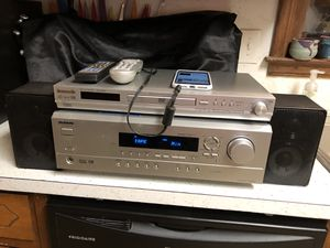 Onkyo TX-SR302 Receiver with Panasonic DVD/CD Player DVD-RP62 and 2 Bookshelf Speakers with Remotes for Sale in Lawrenceville, GA