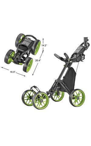 CaddyTek 4 Wheel Golf Push Cart - Caddycruiser One Version 8 1-Click Folding Trolley - Lightweight, Compact Pull Caddy Cart, Easy to Open for Sale in Springfield, VA