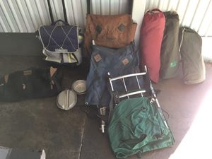 3 pup tents, 3 back packs with support braces, insulated food bag, & large duffle. Used twice & then stored. for Sale in Henderson, NV