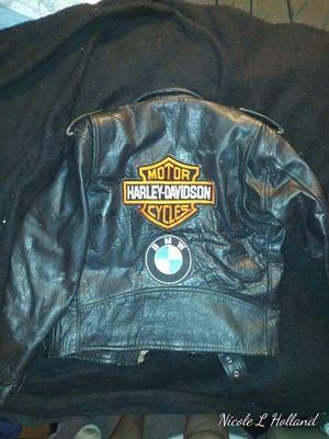 Youth XL Black Leather Harley Davidson / BMW Motorcycle Jacket for Sale in Northglenn, CO