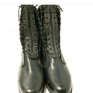 1983 ADDISON BOOT COMPANY MILITARY STEEL TOE BOOTS BLACK LEATHER OLD RARE VINTAGE COMBAT BILTRITE SOLE MOTORCYCLE HARLEY WORK TRUCKER SIZE 11 TACTICAL for Sale in Rancho Cucamonga, CA