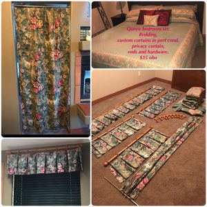 Queen bedding set, Custom curtains, rods and hardware. for Sale in Whiteriver, AZ