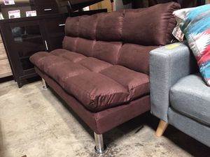 Futon Sofa with Chrome Legs, Dark Brown for Sale in Downey, CA