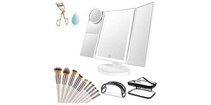 Makeup Vanity Mirror with Lights, 36 LED Trifold Cosmetic Makeup Mirror, 2x 3x 10x Magnification 180° Rotation Dual Power Supply 10 Makeup Brushes Se for Sale in Gardena, CA