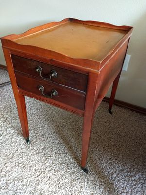 Antique Mail Table, embossed leather for Sale in Seattle, WA