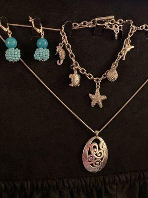 Silver Necklace Sea Charm Bracelet Turtle Dolphin Starfish for Sale in Auburn, WA