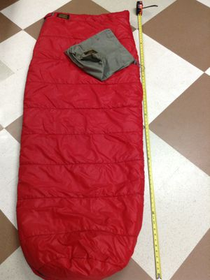 Eddie Bauer sleeping bag and stuff sack, compression sack, water purifier, hanging shower bag for Sale in Nashville, TN
