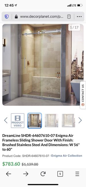 Dreamline Frameless Shower Door for Sale in Stockton, CA