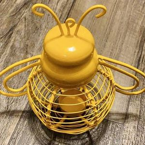 Yellow Metal Bumble Bee Garden Outdoor Candle Holder Home Garden Decoration Accent Made In India for Sale in Chapel Hill, NC