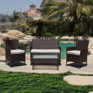 SHIPPING ONLY Outdoor Patio Furniture Set 4 Piece Table Chairs and Couch Loveseat w/Cushions for Sale in Las Vegas, NV