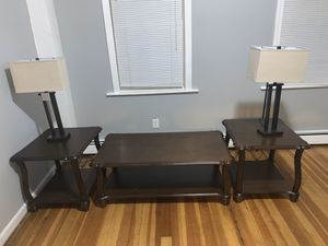 Coffee table with 2 side tables. Lamps included for Sale in Providence, RI