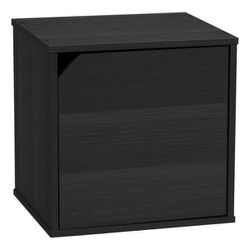 13.55 in. Black Faux Wood 1-shelf Bookcase with Door for Sale in Mount Pleasant,  SC