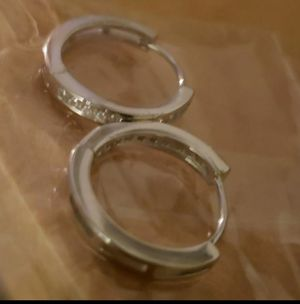 Small solid silver hoops earrings with layer wite gold for Sale in Visalia, CA