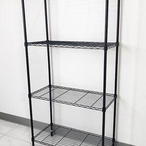 "(NEW) $50 Metal 4-Shelf Shelving Storage Unit Wire Organizer Rack Adjustable w/ Wheel Casters 30x14x61"" for Sale in South El Monte, CA"