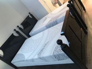 Two twin beds frame and brand new mattress memory foam 12 in for Sale in Mesa, AZ