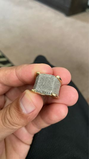 10k yellow gold fully iced out bust down micro pavè pinky ring for Sale in Hollister, CA