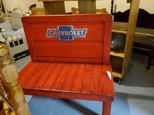 Bench Chevrolet logo red made from twin bed frame for Sale in RAISINVL Township, MI