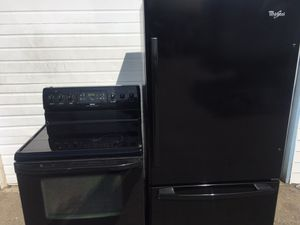 Whirlpool black kitchen set refrigerator fridge with bottom pull out freezer and electric glass top stove oven range FREE LOCAL DELIVERY for Sale, used for sale  Auburn, WA