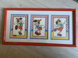 Disney Parks Vintage Pinocchio 3 Frame Matted Print in Frame for Sale in Tamarac, FL