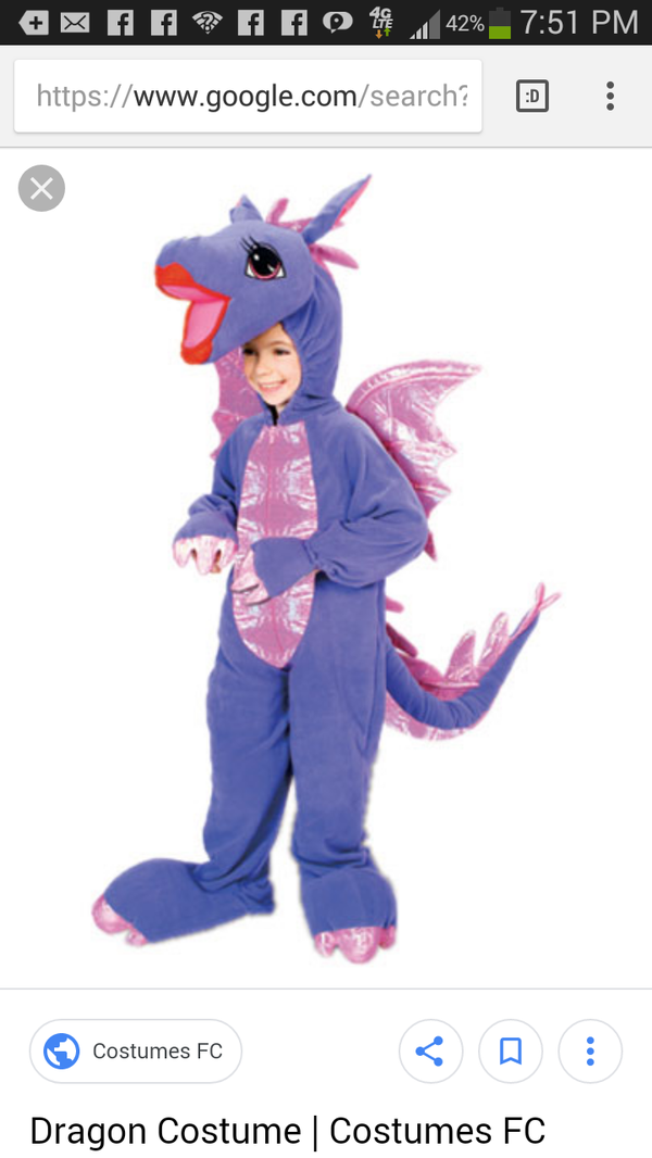 Girls Purple and Pink Halloween Dragon Costume