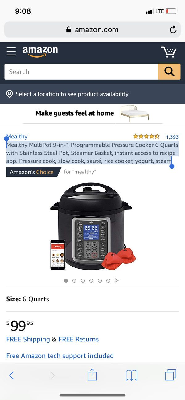 Mealthy MultiPot 9-in-1 Programmable Pressure Cooker 6 Quarts with Stainless Steel Pot, Steamer Basket, instant access to recipe app. Pressure cook,