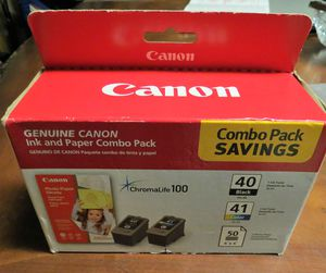 CANON Genuine Printer Ink and Paper Combo Pack ChromaLife 100 - Black 40/Color41 BRAND NEW FACTORY SEALED IN PACKAGE for Sale in Cooper City, FL