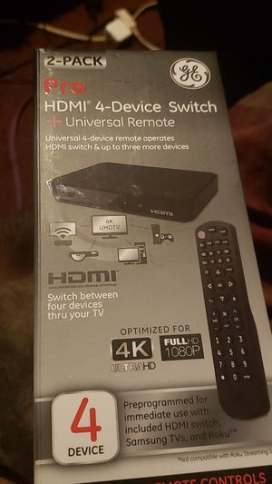 GE 2 pack HDMI 4 Device Switch + universal remote for Sale in Piedmont, SC