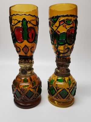Vintage/Mid Century Modern Stained Glass Oil Lamps-Sail Boat Brand- Set of Two (2) for Sale in Mesa, AZ