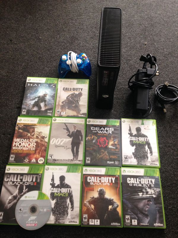 Xbox 360 with games and controller