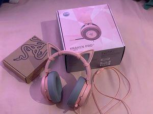 Razer Kraken Pro v2 Quartz Headset with Kitty ears! for Sale in Victorville, CA