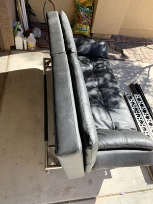 (Used) Black Leather Couch/Futon for Sale in Las Vegas, NV