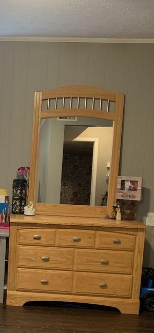 Hard wood bureau and mirror for Sale in Lexington, KY