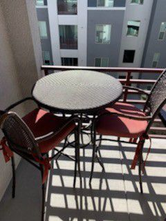 Patio furniture 1 patio table and 2 chairs wicker bartop for Sale in Las Vegas, NV