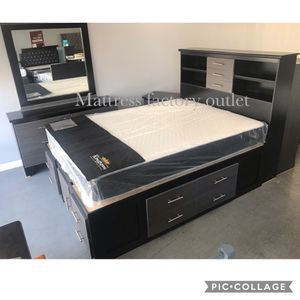 New bedroom set. Queen size bed frame with bookcase headboard,bottom storage drawers, dresser with mirror,night stand and chest. No mattress for Sale in Los Angeles, CA