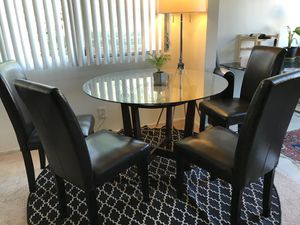 CHEAP!!! Urban Home Dining Round Glass Table with Brown Wood Stand and Leather Chairs for Four for Sale in Los Angeles, CA