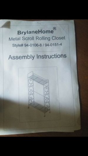 Metal Scroll Rolling Closet 60$ONLY for Sale in Pittsburgh, PA