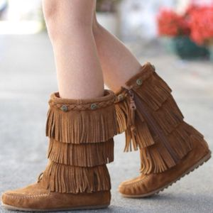 Minnetonka | Brown Fringe Layered Moccasin Boots- SZ 2 (Girls) for Sale in Las Vegas, NV