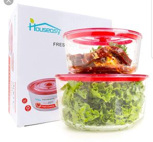 2 pcs Glass Food Storage Container Set with Locking Lids for Sale in Pico Rivera, CA